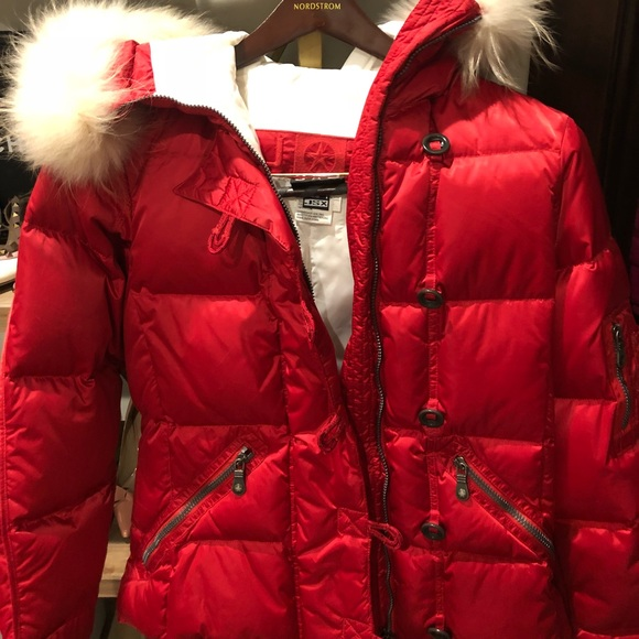 jet set Jackets & Blazers - Red Fur trimmed Jet Set size small Ski Jacket